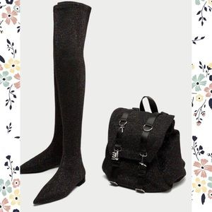 Zara Pointed toe Over the Knee Glitter Boots